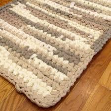 crochet rag rug neutral rug bathroom rug rug for bathroom