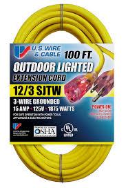 us wire 74100 12 3 100 feet sjtw yellow heavy duty lighted