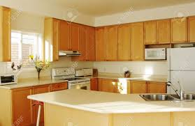 Kitchen With Maple Cabinets by Modern House Interior New Kitchen With Maple Cabinets Stock Photo