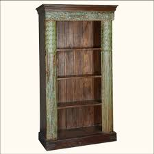 Distressed Wood Bookcase Greek Column Reclaimed Wood 4 Shelf Open Display Bookcase