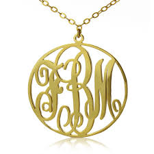 gold monogram necklace personalized solid gold vine font circle initial monogram necklace