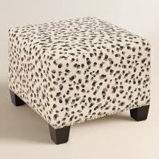 Printed Ottomans And Beige Snow Leopard Upholstered Ottoman In Leopard