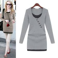 winter dresses for womens 2017 long sleeve dress solid black gray