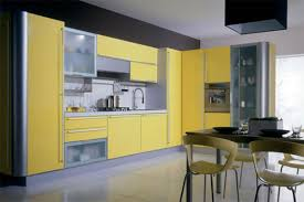 colorful kitchen design ideas with white cabinet and wooden floor