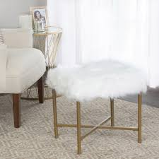 homepop faux fur white square stool homepop