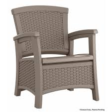 Resin Wood Outdoor Furniture by Suncast Elements Resin Outdoor Lounge Chair With Storage
