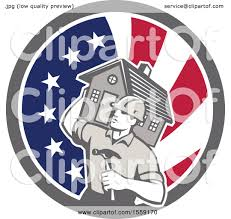 home builder free clipart of a retro home builder carrying a house and hammer in