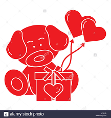 valentines ballons puppy with gift hearts and balloons greeting card