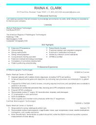Radiology Tech Resume Raina Ct Medical Resume