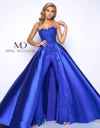 prom jumpsuit 48442m mac duggal prom jumpsuit with overskirt