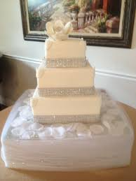 fantasy flower square bling wedding cake two dummy tiers and one