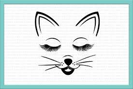 cat face svg eyelashes svg cat head svg cat svg cat halloween