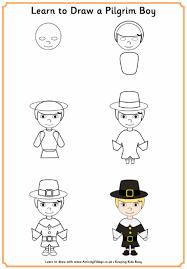 learn to draw a pilgrim boy thanksgiving printables
