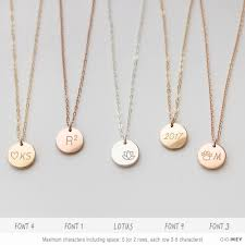 Personalized Disc Necklace Customized Circle Necklace Simple Everyday Necklace Delicate