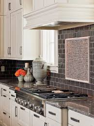interior blue tile kitchen backsplash added by white black