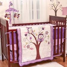 Purple Nursery Bedding Sets Purple Owl Animals Baby Birds Themed 5pc W Bumper Nursery