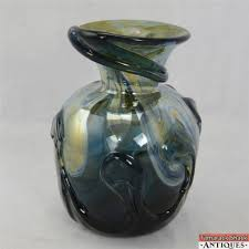 Dark Blue Glass Vase Signed Gary Loch 1982 Art Glass Vase Dark Blue Iridescent Swirls