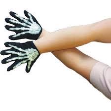 halloween skeleton gloves boys girls childs black skeleton gloves for fancy dress accessory