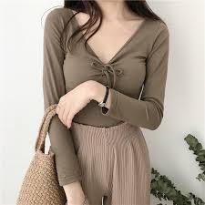 blouse tumbler itgirl shop cotton slim sleeve v neck bust bow flat knit blouse