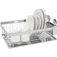Dish Drainer Kitchen Details Dish Rack With Cup And Tray Chrome Pave Diamond