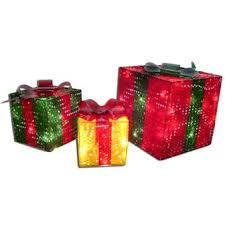 outdoor lighted gift boxes 3 piece prismatic gift boxes lighted sculpture american sales