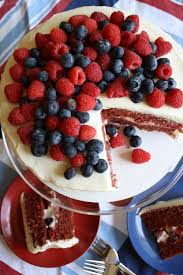 red velvet cake with mascarpone frosting and fresh berries u2014 the