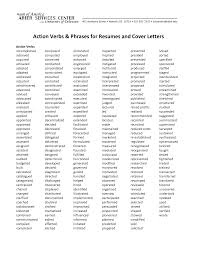 Strong Resume Words Endearing Resume Action Verbs Past Tense For Strong Action Verbs