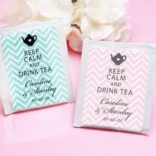 keep calm chevron personalized tea bag favor tea time theme