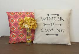 winter is coming quote pillow arrow decor decorative throw
