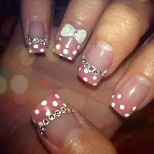 acrylic nails clear base w glitter pink white polka dot tips