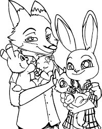 zootopia bunny and fox family coloring page wecoloringpage