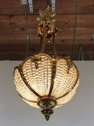 Antique Chandeliers Basket Light Fixture 19th Century French Empire Bronze And