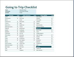 ms excel going to trip checklist template word u0026 excel templates