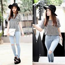 Forever 21 Ripped Jeans Anico Hanna G Romwe Black And White Stripes Miyoc Hw Ripped