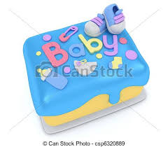 stock illustration of baby shower cake 3d illustration of a cake