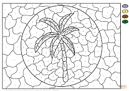 palm tree color by number free printable coloring pages