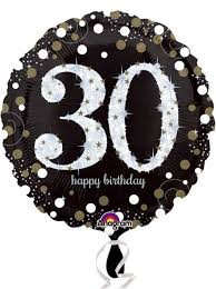 30th birthday balloons delivered 30th black and gold sparkles foil balloon buy helium balloons