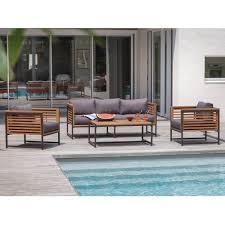 fauteuil canape salon de jardin bas végas aluminium bois 1 canapé 2 fauteuils