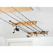 Ceiling Mount Rod by Organized Fishing Wooden Ceiling Horizontal Rod Rack 9 Capacity