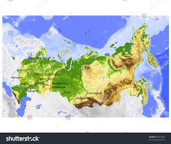 Russia Physical Map Physical Map by Russia Physical Vector Map Colored According Stock Vector 19002562