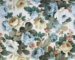 Shabby Chic Upholstery Fabric Country Garden Fabric Vintage 70 80s Floral Pattern Printed