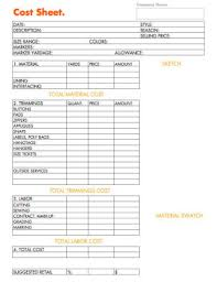 how to business planning worksheet cost sheet for fashion