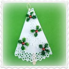 paper doily tree ornaments with a blast