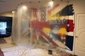 kathryn godwin visual artist graffiti wall mural behind the scenes the beatles union jack painted wall mural progress