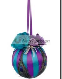 purple teal peacock feather decorative balls ornaments wedding