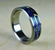Titanium Wedding Rings by Titanium Wedding Ring Blue Wood And Stone Wood Ring Titanium