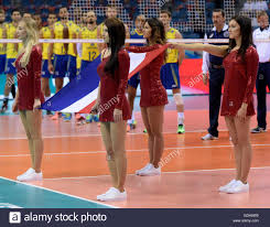 Cheerleader Flags Krakow Poland 16th July 2016 Cheerleaders Hold The French Flag