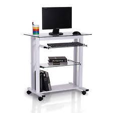 White Desk Glass Top Homcom 33 Glass Top Mobile Home Office Computer Cart Desk White