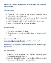 Restaurant Server Job Description For Resume by Waiter Job Description Cna Duties List Graduate Resume Sample