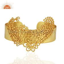 cuff bracelet gold plated images Filigree design brass fashion gold plated cuff bracelet wholesale jpg
